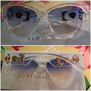 Versace clear frame with gold logos sunglasses